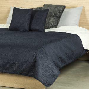 4Home Prehoz na posteľ Doubleface modrá/krémová