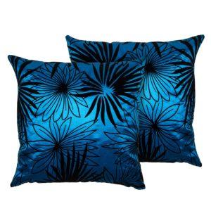 Obliečka na vankúšik Basic Kvety modrá