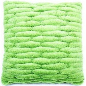Obliečka na vankúšik chlpatá prešívaná zelená
