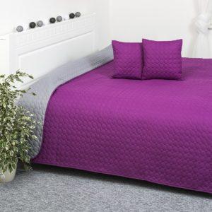 Prehoz na posteľ Doubleface fialová/sivá