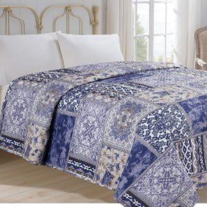 Prehoz na posteľ Orient modrá