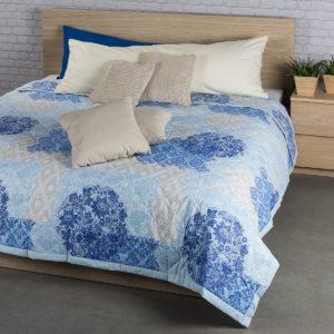 Prehoz na posteľ Ottorino modrá