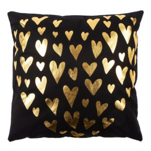 Vankúšik Gold De Lux Srdce čierna